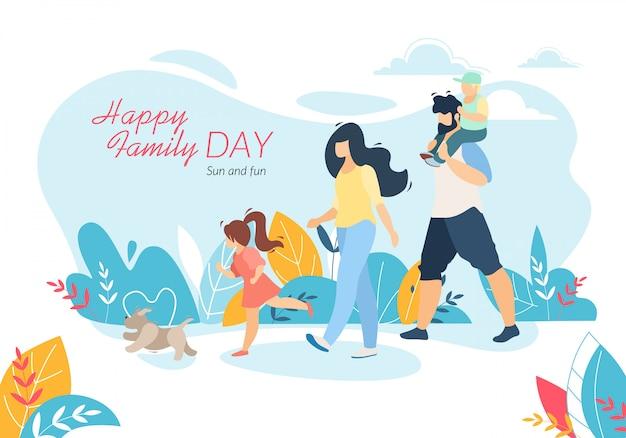 Feliz día de la familia banner horizontal, madre, padre, hija e hijo caminando con mascota