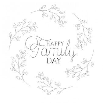 Feliz día de la familia etiqueta icono aislado