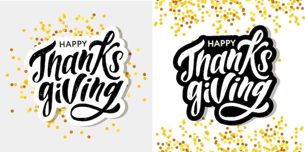 Feliz día de gracias letras caligrafía pincel texto vacaciones etiqueta conjunto oro