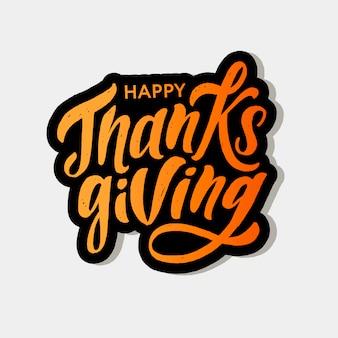 Feliz día de gracias letras caligrafía pincel texto vacaciones pegatina
