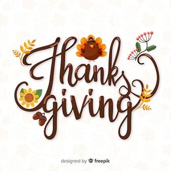 Feliz día de gracias letras con pavo dibujado a mano