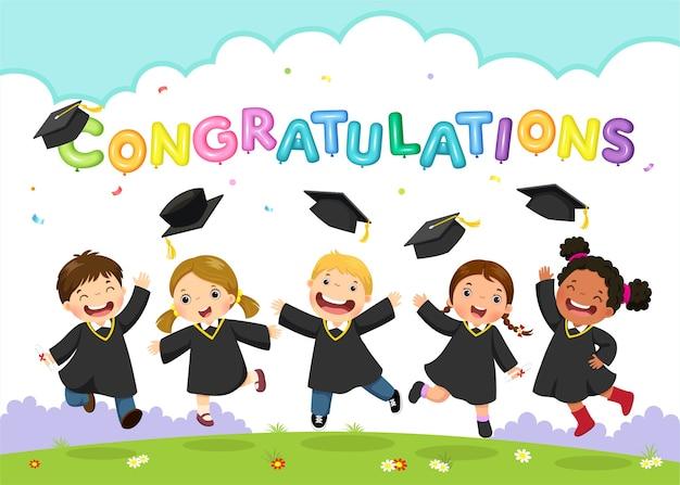 Feliz dia de graduacion. ilustración de estudiantes celebrando la graduación