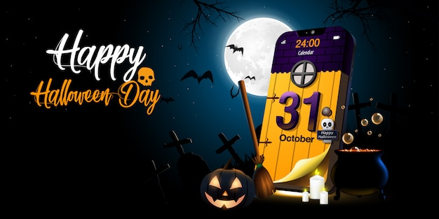 Feliz día de halloween y calendario en la noche oscura del teléfono móvil