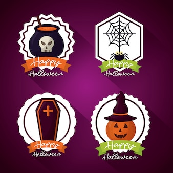 Feliz día de halloween conjunto de insignias