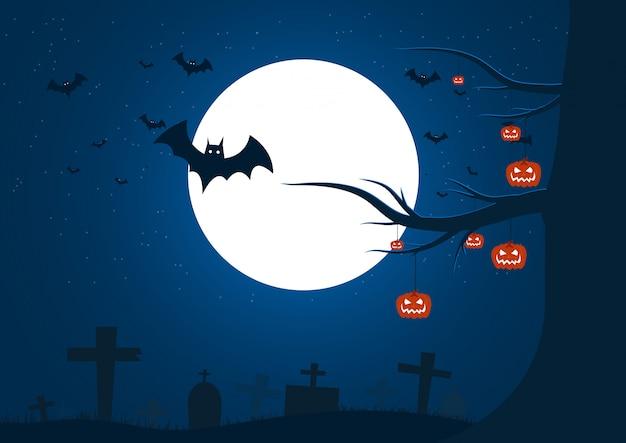 Feliz día de halloween en el fondo de la noche, fiesta de halloween
