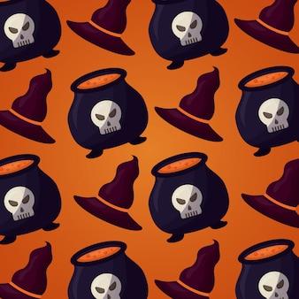 Feliz día de halloween de patrones sin fisuras