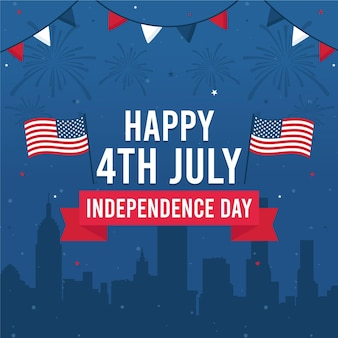 Feliz día de la independencia con banderas y guirnaldas