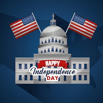 Feliz día de la independencia casa blanca con dos banderas feliz día