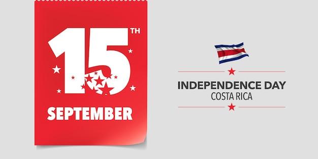 Feliz día de la independencia de costa rica. fondo del día nacional de costa rica el 15 de septiembre con elementos de bandera en un diseño horizontal creativo