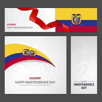 Feliz día de la independencia de ecuador banner y fondo conjunto