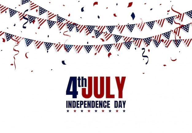 Feliz día de la independencia de estados unidos el 4 de julio. bandera