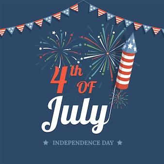 Feliz día de la independencia de los estados unidos de américa vector plano