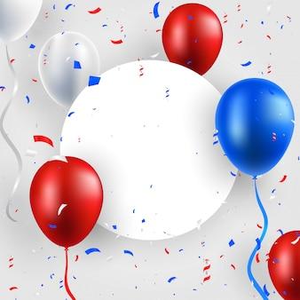 Feliz día de la independencia de estados unidos (estados unidos de américa) 4 diseño de tarjeta de felicitación de celebración del cuatro de julio con globos, fuegos artificiales, confeti, cinta.