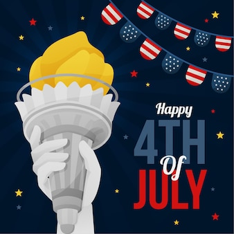 Feliz día de la independencia con la estatua de la libertad
