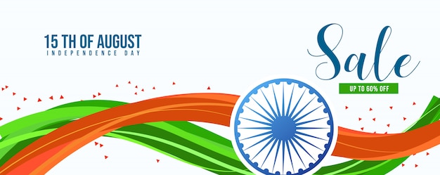 Feliz día de la independencia india, banner de venta