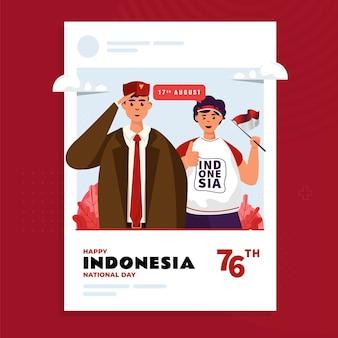 Feliz día de la independencia de indonesia ilustración saludos en la plantilla de publicación de redes sociales