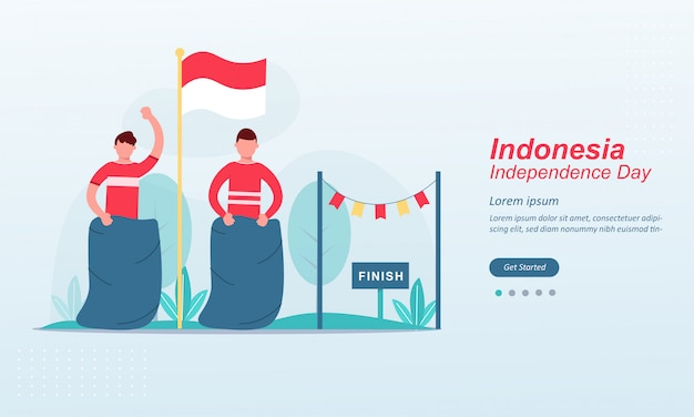 Feliz día de la independencia de indonesia plantilla de página de destino