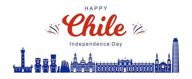 Feliz día de la independencia, silueta de monumentos de chile. vector