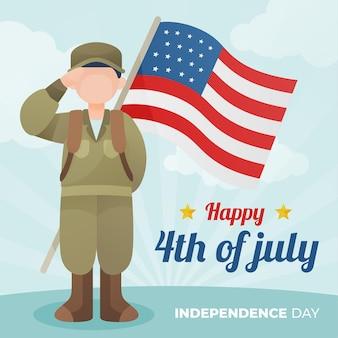 Feliz día de la independencia con soldado y bandera