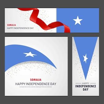 Feliz día de la independencia de somalia banner y fondo conjunto