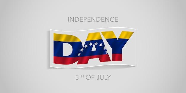 Feliz día de la independencia de venezuela. bandera ondulada venezolana en diseño no estándar para la fiesta nacional del 5 de julio