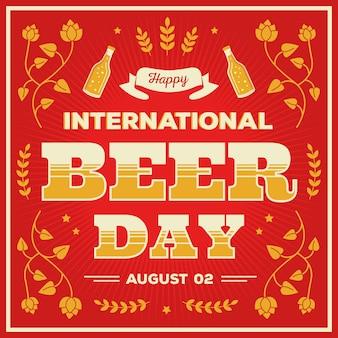 Feliz día internacional de la cerveza con hojas de lúpulo