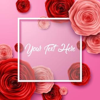 Feliz día internacional de la mujer con flor de rosas cortadas y marco cuadrado