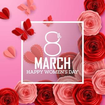 Feliz día internacional de la mujer con rosas, flores, mariposas, corazones y marco cuadrado