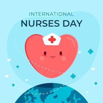 Feliz día internacional de enfermeras en forma de corazón