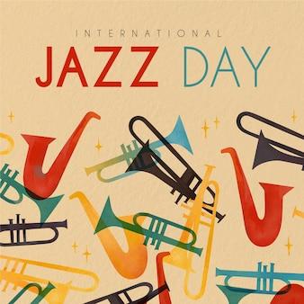 Feliz día internacional del jazz con saxofones