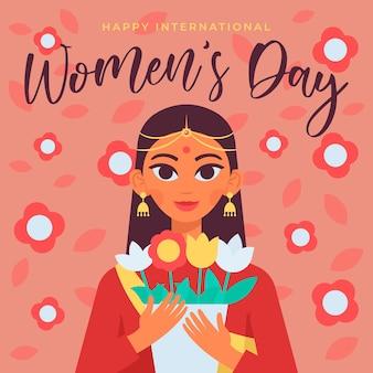 Feliz día internacional de la mujer, 8 de marzo, el poder de la mujer ilustrado a mano. pelo largo
