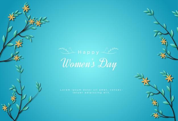 Feliz día internacional de la mujer con flores.