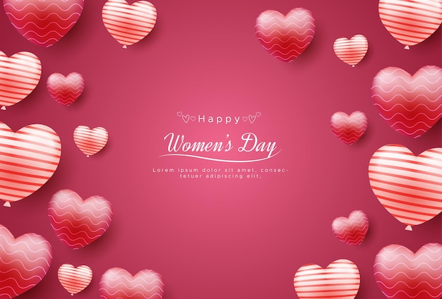 Feliz día internacional de la mujer con globos de amor.