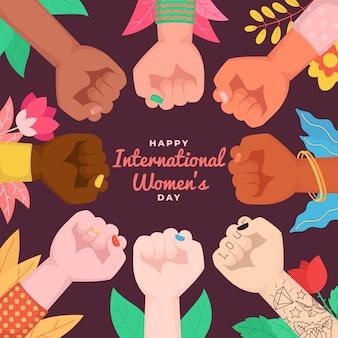 Feliz día internacional de la mujer. puños levantados abrazando el poder femenino.