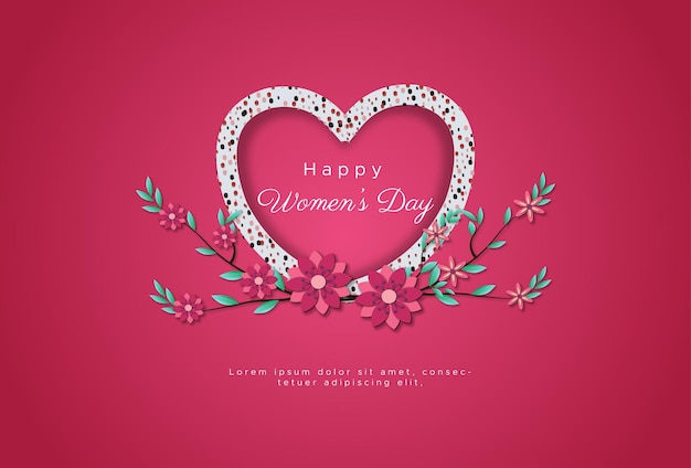 Feliz día internacional de la mujer con purpurina de amor formando líneas de amor.