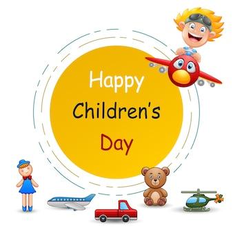 Feliz día internacional del niño con juguetes