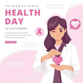 Feliz día internacional de la salud ilustración de fondo