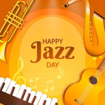 Feliz día del jazz instrumentos de oro