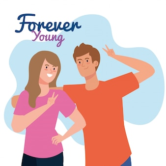 Feliz día de la juventud, joven pareja, joven mujer y hombre juntos para la celebración del día de la juventud