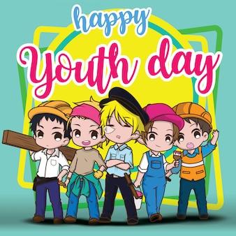 Feliz día de la juventud, niños en traje de trabajo