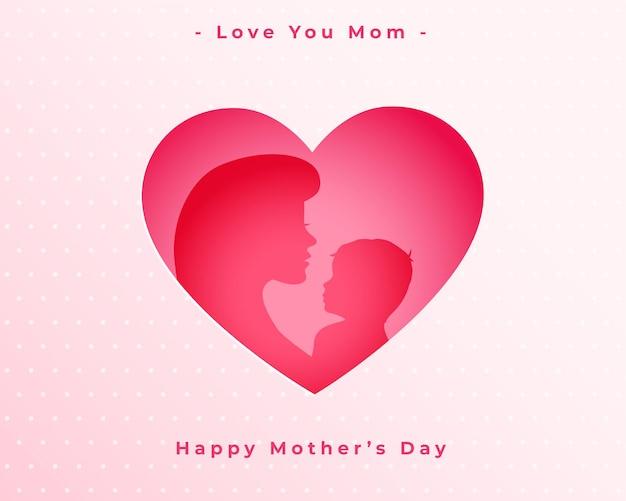 Feliz día de la madre amor corazón mamá y niño antecedentes