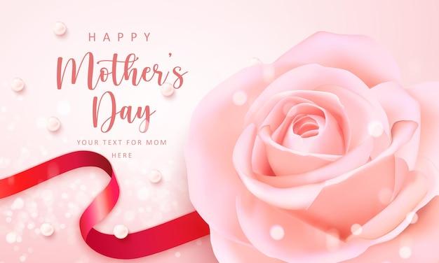 Feliz día de la madre bandera rosa elegante flor color de rosa cinta roja y perla con brillante fondo bokeh