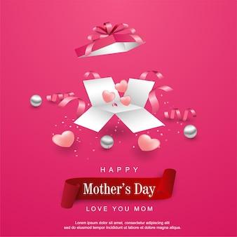 Feliz día de la madre con caja de regalo abierta realista.