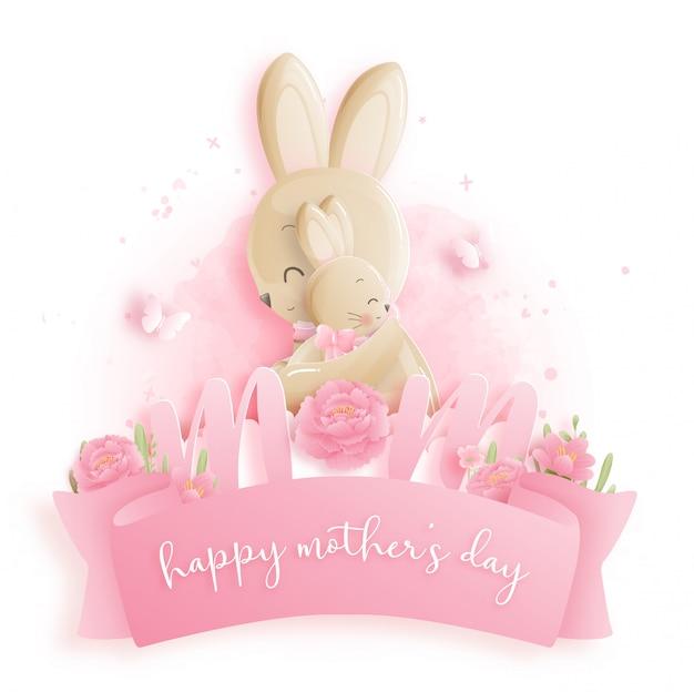 Feliz día de la madre con conejitos.