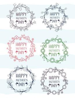 Feliz día de la madre conjunto de marcos del día de la madre con ilustración de flores
