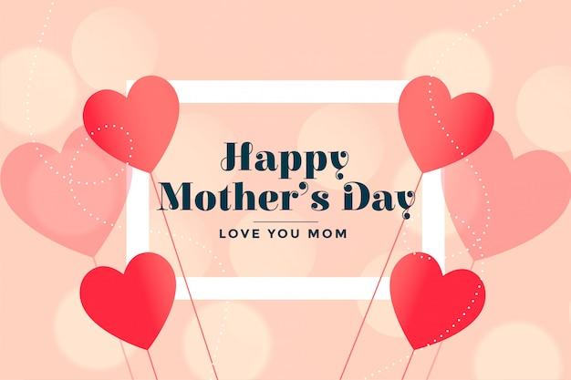 Feliz día de la madre corazones encantadores tarjeta desea fondo