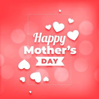 Feliz día de la madre corazones y fondo bokeh