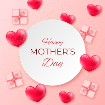 Feliz dia de la madre con corazones y regalos