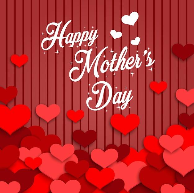 Feliz día de la madre con corazones rojos sobre fondo rojo de madera
