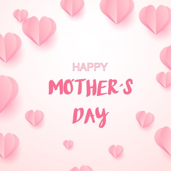 Feliz día de la madre con corazones rosas.